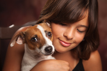 Pretty Hispanic Girl and Her Puppy Studio Portrait