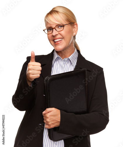 Attractive Blond Businesswoman with Thumbs Up Isolated on White