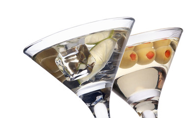 martini with olive cocktail isolated