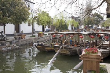 Traditional water taxi's in the canal, Zhujiajiao, China