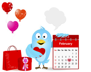 Blue Bird with a symbol calendar for February 2013.