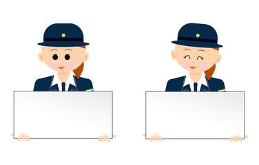 ホワイトボードを持った婦人警官