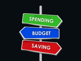 spending saving budget three road signs arrows