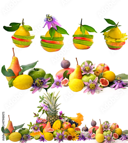 Obst, Vitamine: Collage aus bunten Frucht-Kompositionen