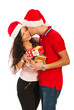 Christmas couple kissing