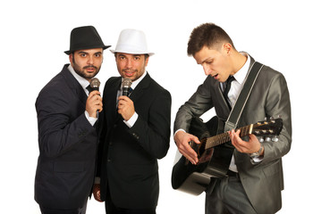 Group of singers with guitarist