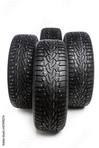 winter tires set isolated on white