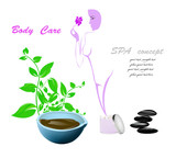Spa concept.Body care and medicine cosmetology.Vector poster