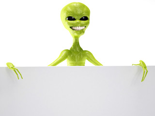 alien smiling in free space