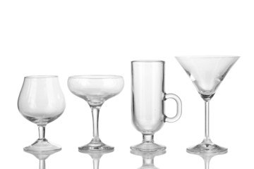 Collection of various glasses isolated on white