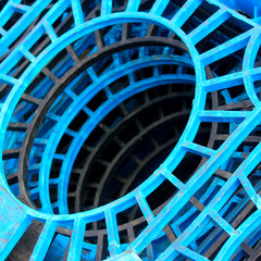 Industrial Blue Plastic Stacks