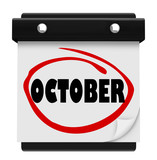 October Word Wall Calendar Change Month Schedule