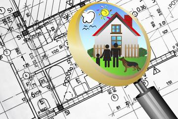 architectural plan blueprint real estate business concept