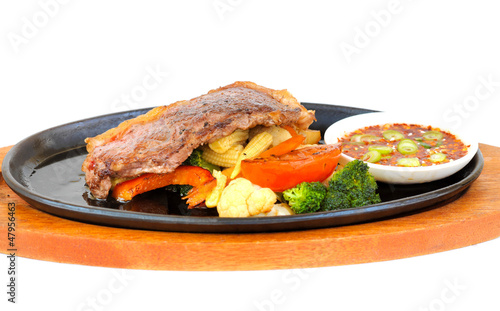 Hot sizzling steak