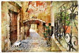 Fototapety pictorial old streets of  Greece, Crete
