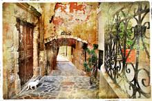 Obrazkowych stare uliczki grecja, kreta
