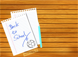 Vector back to school paper on column wood texture