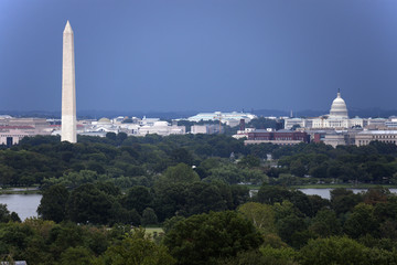 The US Capitol and Washington Monument