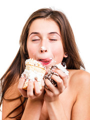 Young woman with a delicious  cake