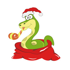 Chrismas snake symbol of 2013 year. Vector.
