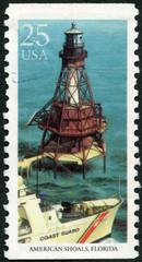 USA - 1990: shows American Shoals, Florida, series Lighthouses