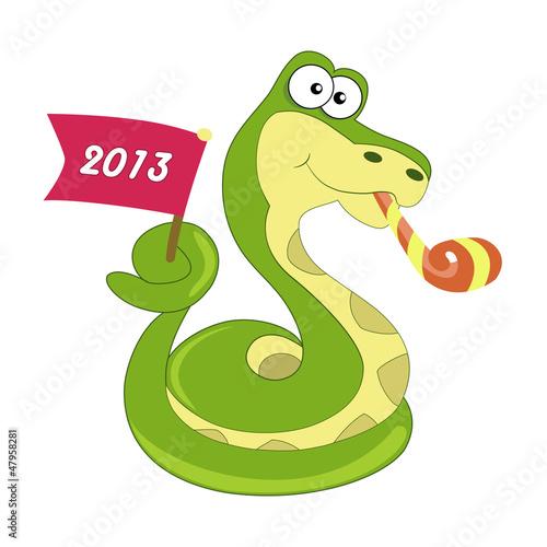 Snake symbol of 2013 year. Vector.