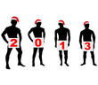 Silhouettes of men in Santa hats.Vector