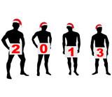 Silhouettes of men in Santa hats.Vector
