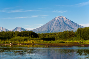 Volcano Koryaksy and river Avacha on Kamchatka.