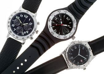Wrist watches with several dials