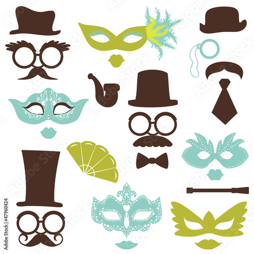 Retro Party set - Glasses, hats, lips, mustaches, masks