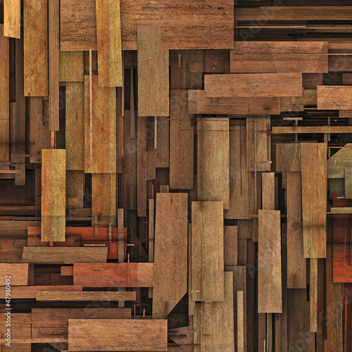 abstract 3d render fragmented wood timber plank backdrop
