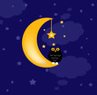 background with clouds, the new moon and cute owl