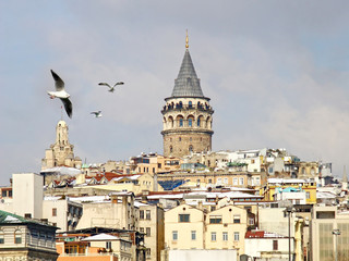 Istanbul Galata tower in winter