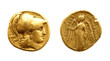 Leinwanddruck Bild - Two sides of an ancient greek gold coin with Alexander the Great.