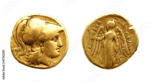 Leinwanddruck Bild Two sides of an ancient greek gold coin with Alexander the Great.