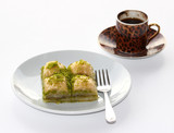 Baklava with pistachios and a cup of Turkish Coffee