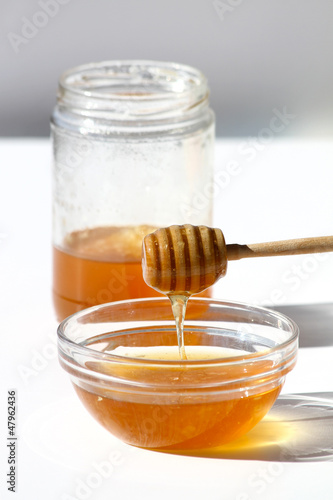 Honey Bowl with dipper and jar
