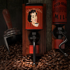 vintage grinders and coffee beans 3d illustration