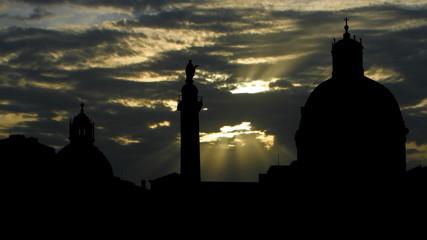 Italy Roma Trajans column sunpassing