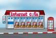 Interent cafe and telephone booth
