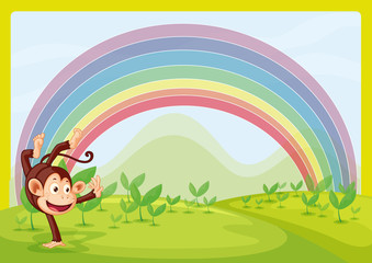 Rainbow and monkey playing in nature