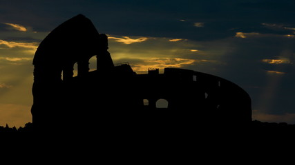 Italy Rome Colosseum sun gliding