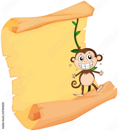 A monkey and a paper sheet