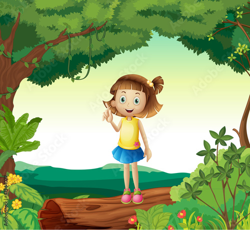 A girl under tree in nature