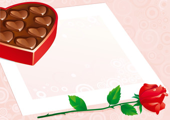 Open box of candy heart, red rose and empty blank.