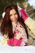 Brunette in snow