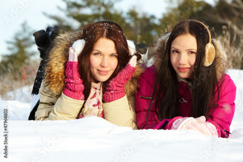 Girls on snow