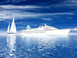 Big ship and sailing luxury yacht on beautiful seascape