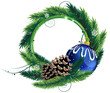 Pine Tree wreath with Christmas ball and pine cones